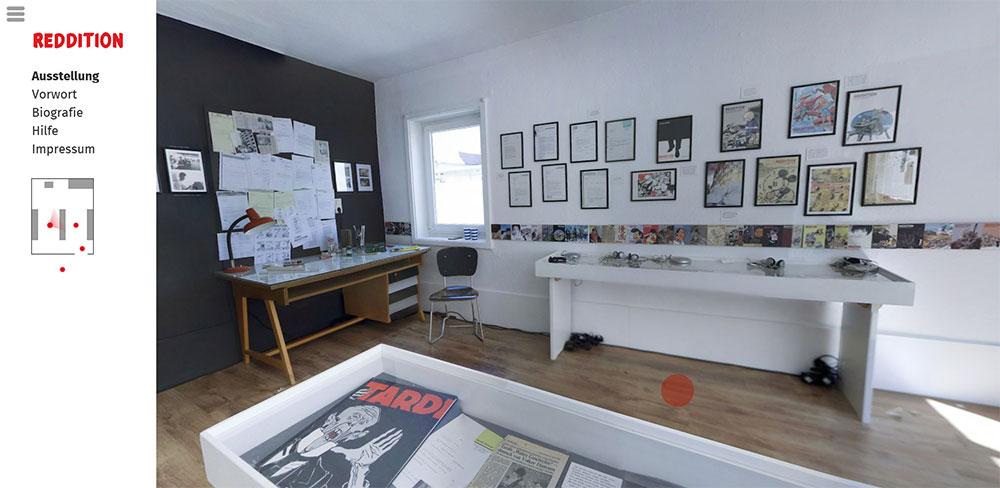 Blick in die virtuelle REDDITION-Ausstellung